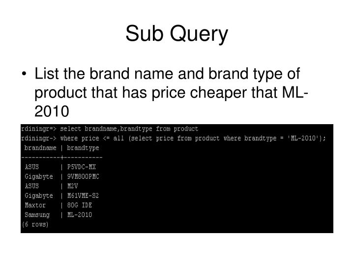 Sub Query