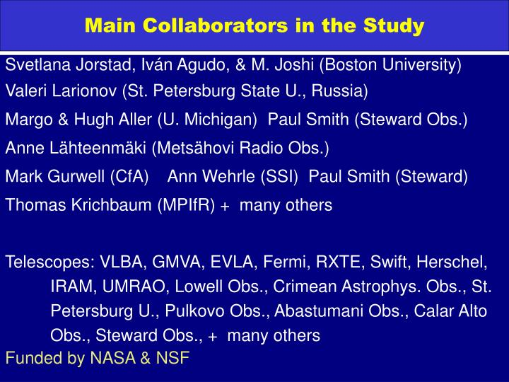 Main collaborators in the study