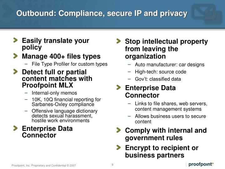 Outbound: Compliance, secure IP and privacy
