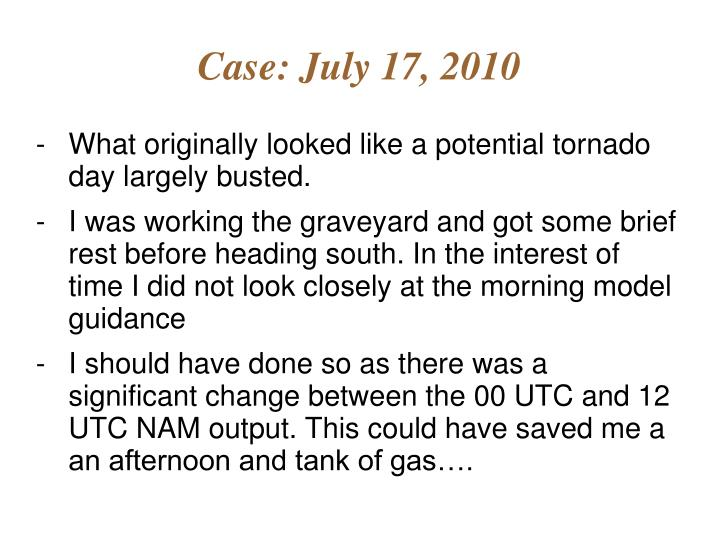Case: July 17, 2010