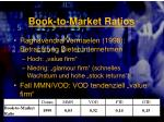 book to market ratios