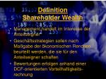 definition shareholder wealth