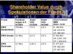 shareholder value durch spekulationen der fonds