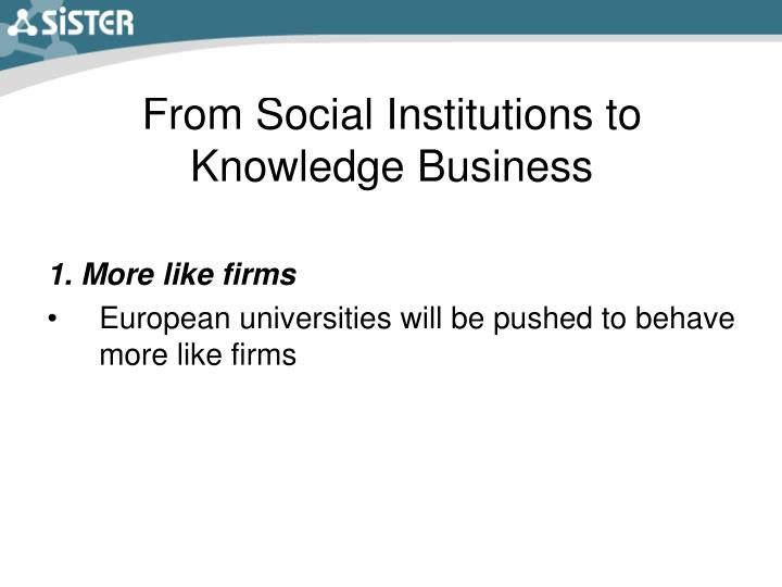 From Social Institutions to Knowledge Business