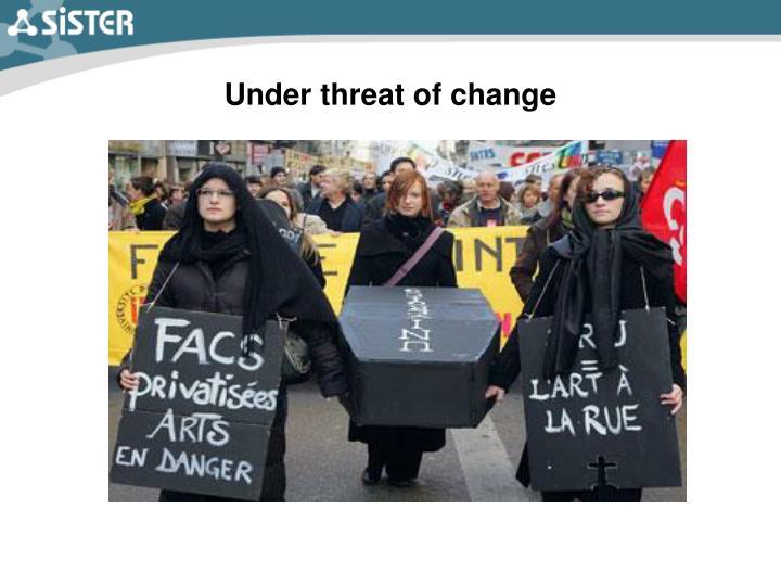 Under threat of change