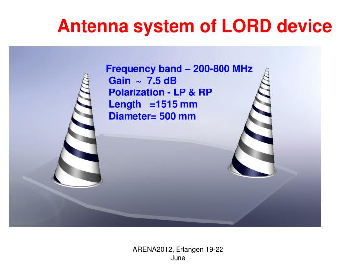 Antenna system of LORD device