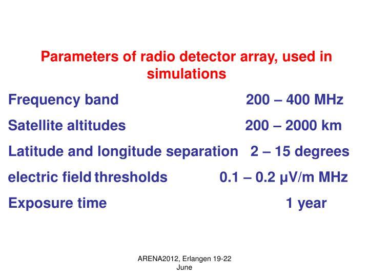 Parameters of radio detector array, used in simulations