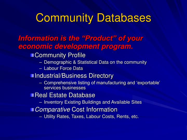 Community databases