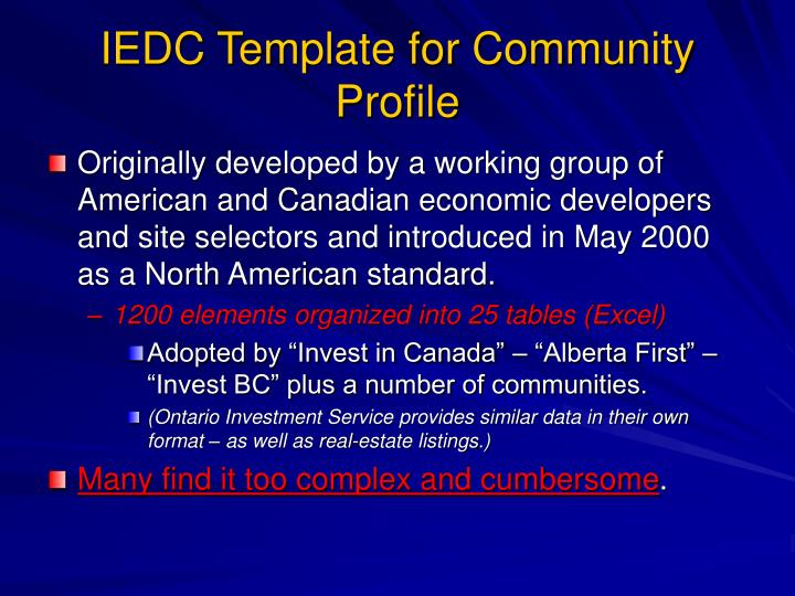 IEDC Template for Community Profile