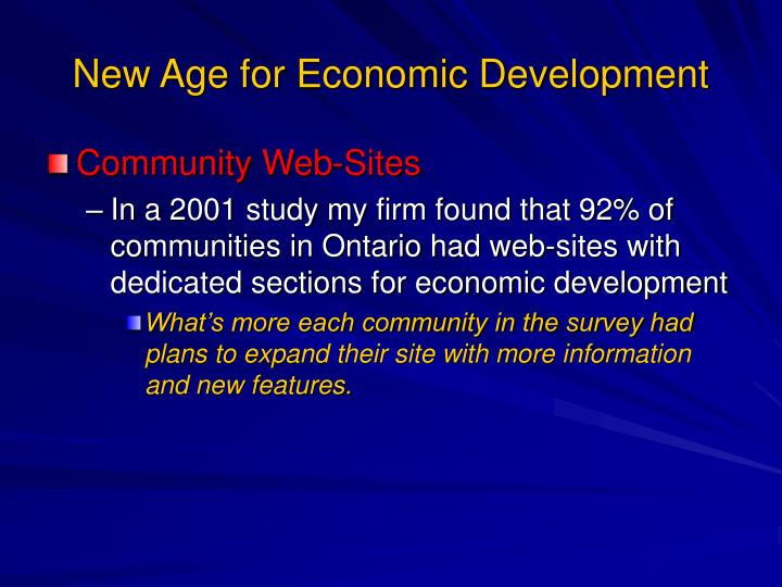New Age for Economic Development