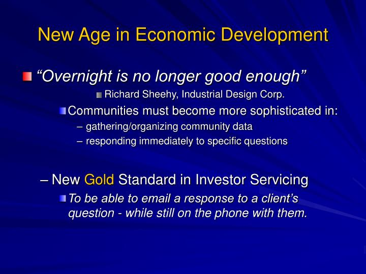 New Age in Economic Development