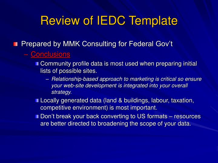 Review of IEDC Template