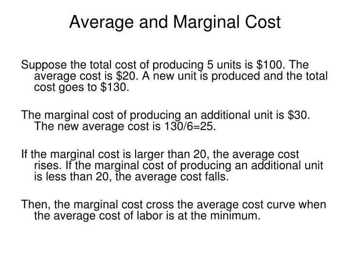 Average and Marginal Cost
