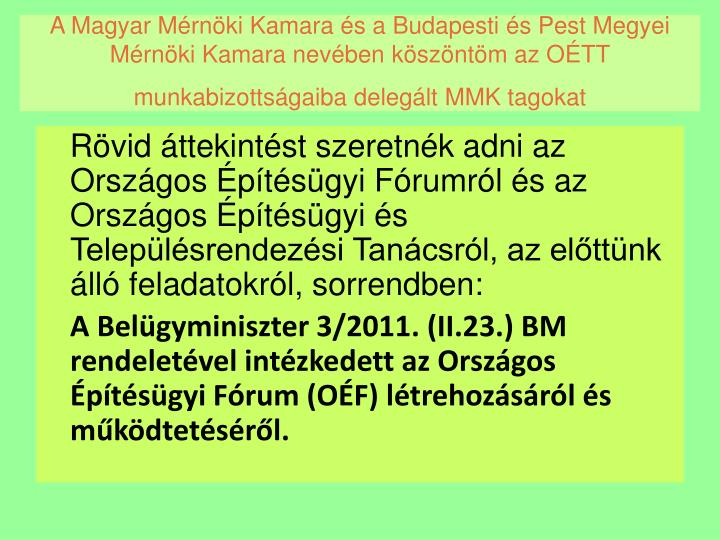 A Magyar Mérnöki Kamara és a Budapesti és Pest Megyei