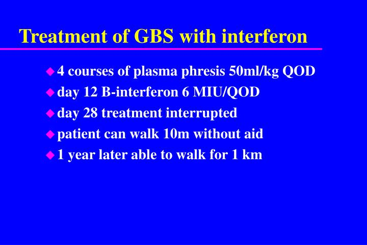 Treatment of GBS with interferon