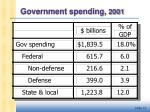 government spending 2001