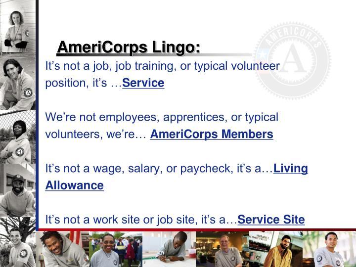 AmeriCorps Lingo: