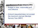 cost effectiveness budget adequacy 25