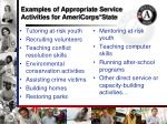 examples of appropriate service activities for americorps state