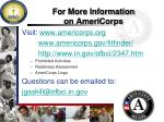 for more information on americorps