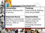 participant development