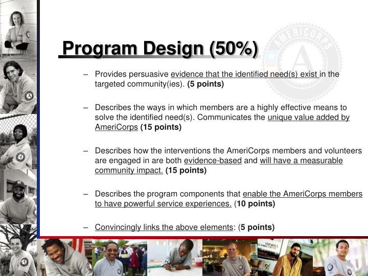 Program Design (50%)