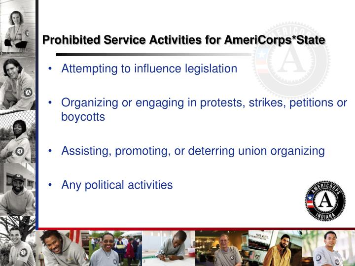 Prohibited Service Activities for AmeriCorps*State