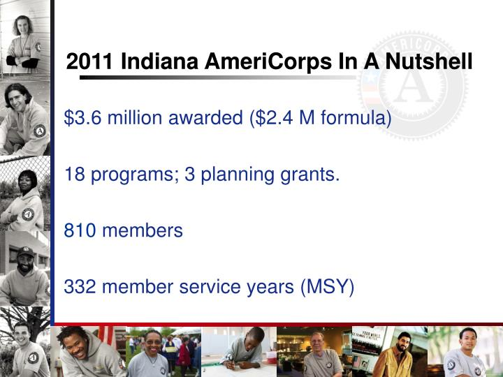 2011 Indiana AmeriCorps In A Nutshell