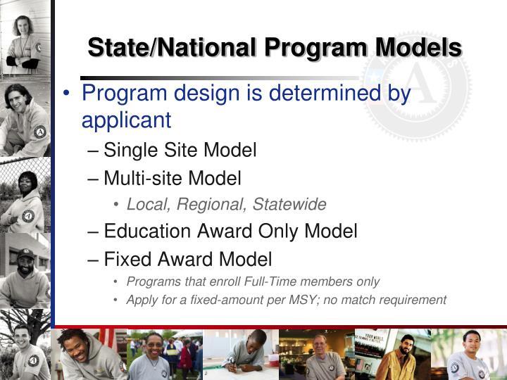 State/National Program Models