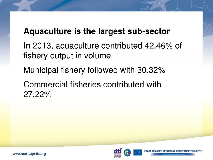 Aquaculture is the largest sub-sector