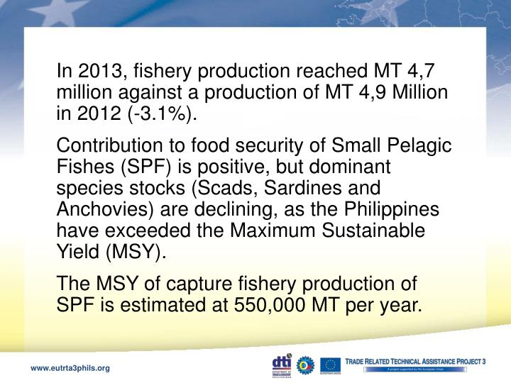 In 2013, fishery production reached MT 4,7 million against a production of MT 4,9 Million in 2012 (-3.1%).