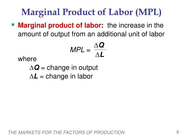 Marginal Product of Labor (MPL)