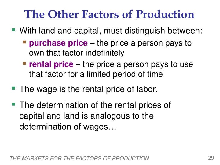 The Other Factors of Production