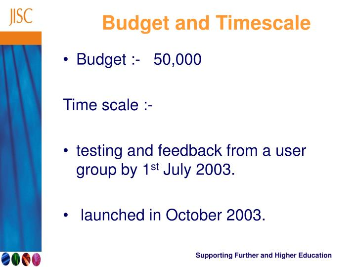 Budget and Timescale