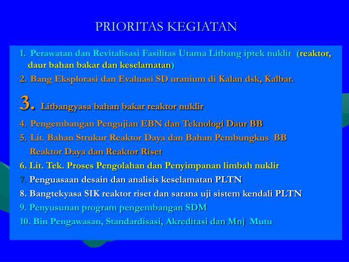 PRIORITAS KEGIATAN