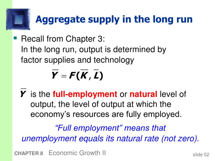 Aggregate supply in the long run