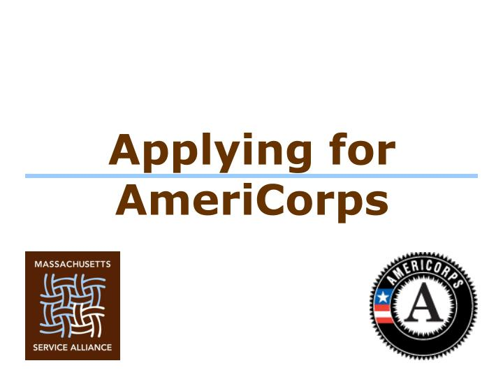 Applying for AmeriCorps