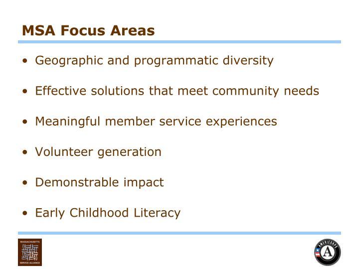 MSA Focus Areas