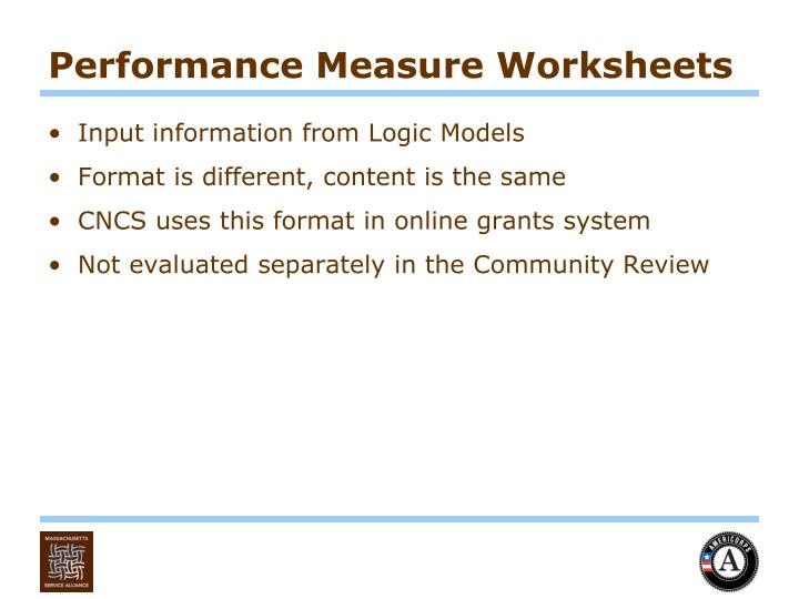 Performance Measure Worksheets