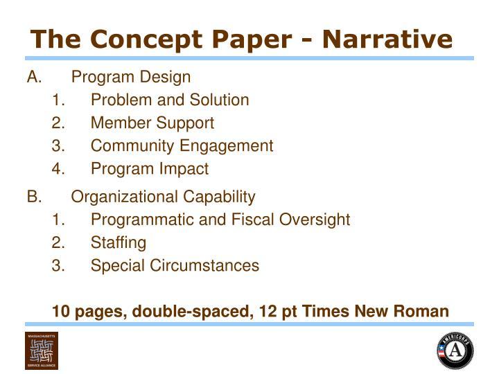 The Concept Paper - Narrative