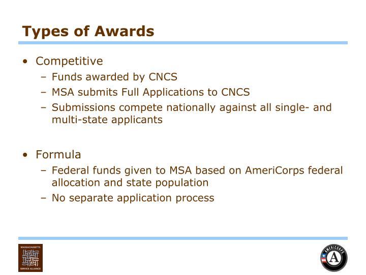 Types of Awards