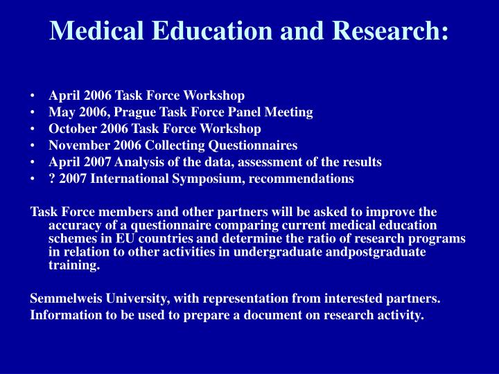 Medical Education and Research: