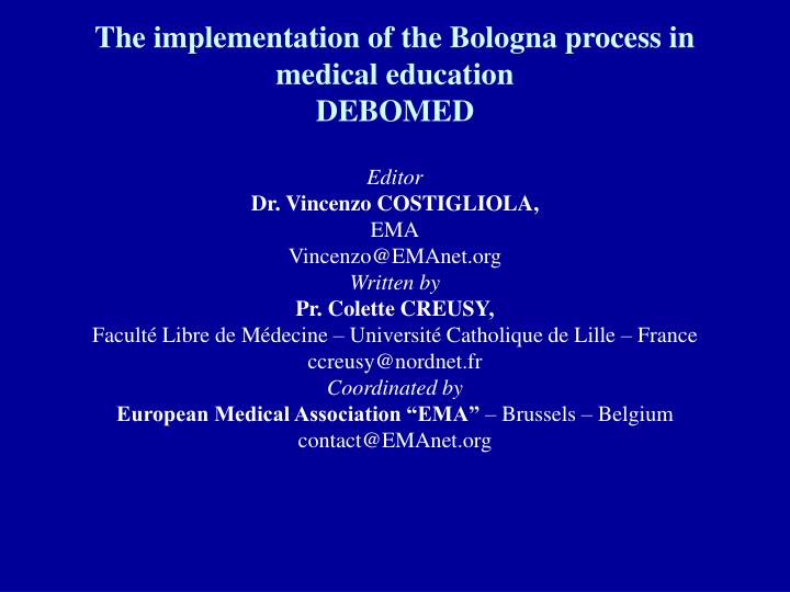 The implementation of the Bologna process in