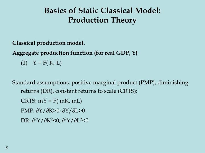 Basics of Static Classical Model: