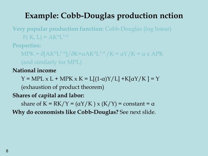 Example: Cobb-Douglas production nction