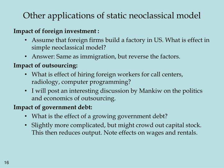 Other applications of static neoclassical model