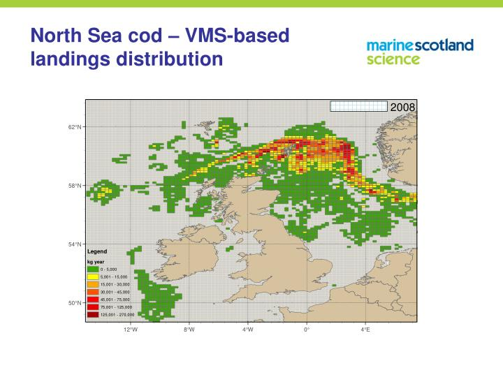 North Sea cod – VMS-based landings distribution