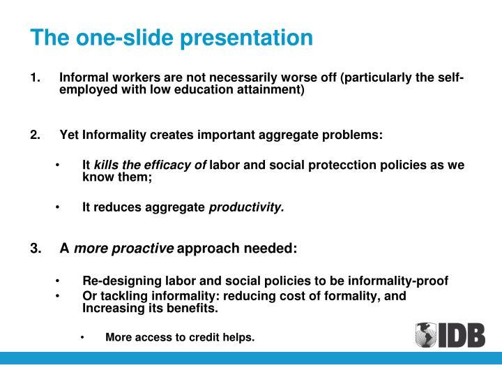 The one-slide presentation