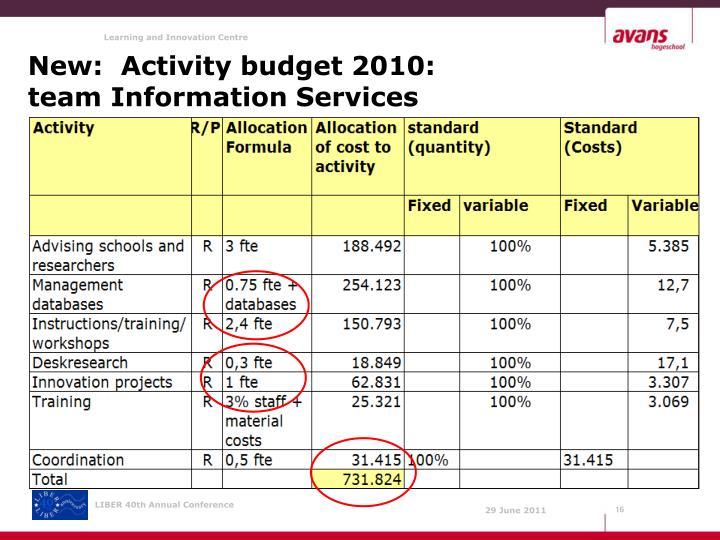 New:  Activity budget 2010: