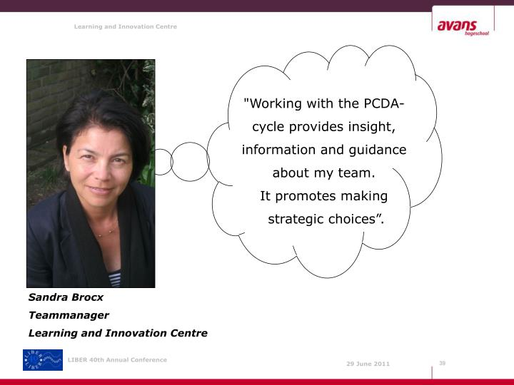 """""""Working with the PCDA-cycle provides insight, information and guidance about my team."""